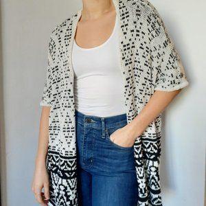 White and black oversize knit cardigan